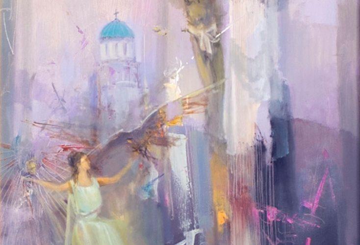 Пътят към храма - абстрактна каритна на художника Божидар Хаджистоянов