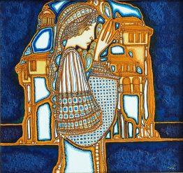 Брегове-абстрактна картина с жена и птици
