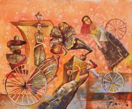 Музикална разходка - абстрактна картина на художника ВИли Николов