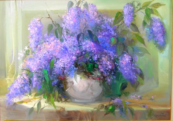 Натюрморт с люляк - картина с цветя на Божидар Хаджистоянов