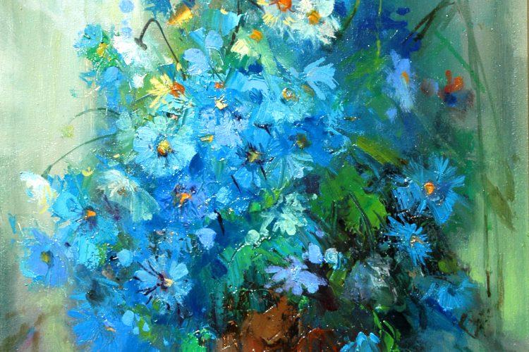 Натюрморт със синчец - картина с полски цветя