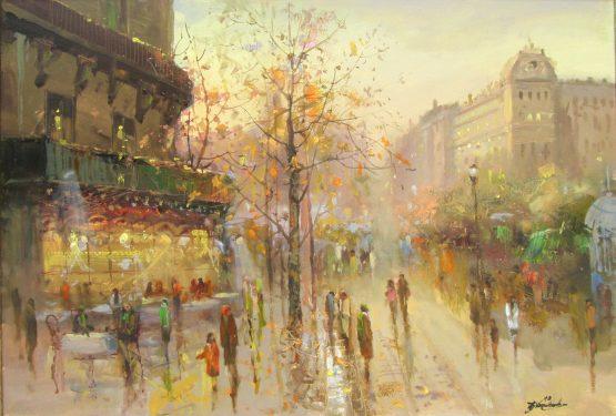 Градски пейзаж от Париж, маслени бои, платно