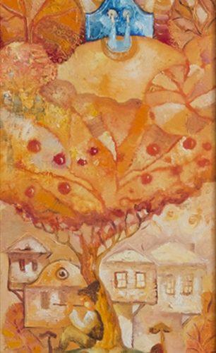 Празник - картина пейзаж, наивизъм
