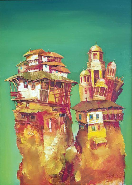 """Каритна пейзаж от Велико Търново-Въздигане"""" на художника Костадин Косев в Арт Галерия Европа"""