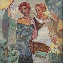 Ангелска градина абстрактна картина с ангели