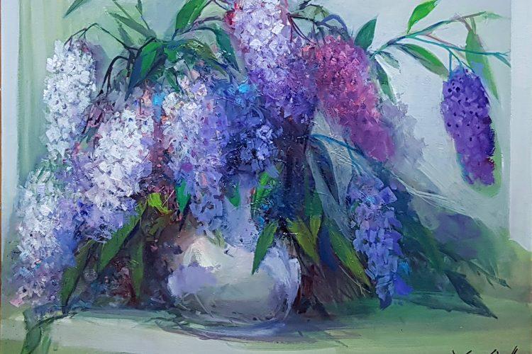 Натюрморт с люляк - картина с цветя