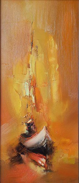 Лодки на залез - морска картина