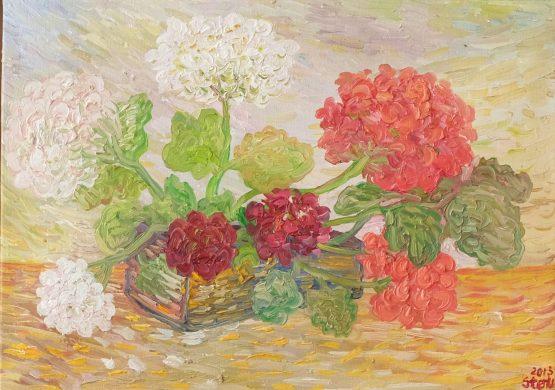 На верандата - Картина с цветя, натюрморт. мушкакто