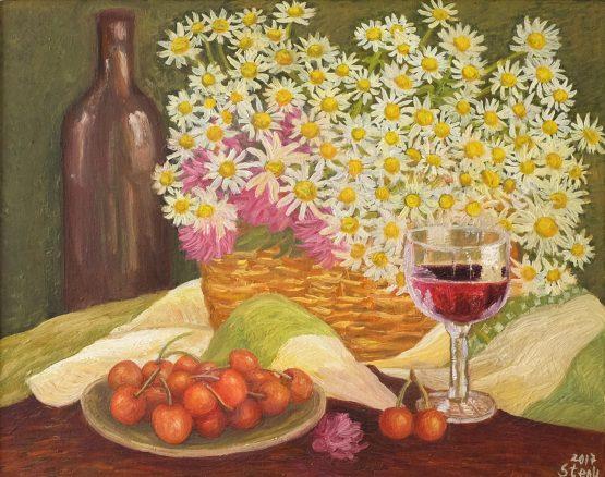 Натюрморт с цветя и плодове - картина с маслени бои
