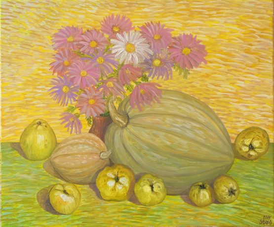 Натюрморт с дюли - картина с цветя и плодове