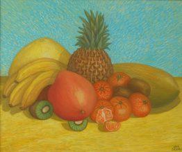 Натюрморт с екзотични плодове- маслени бои, платно