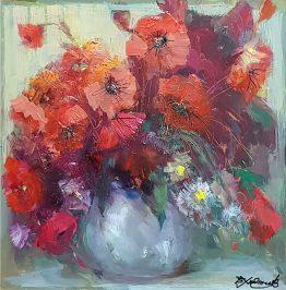 Натюрморт с макове - картина с цветя