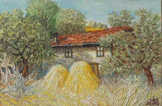 Пейзаж от село Падеж - картина със стари къщи
