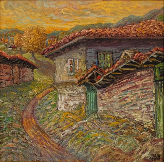 Привечер - картина пейзаж, маслени бои, платно