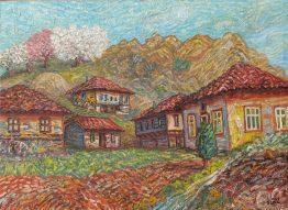 Пролетен пейзаж - картина със стари къщи