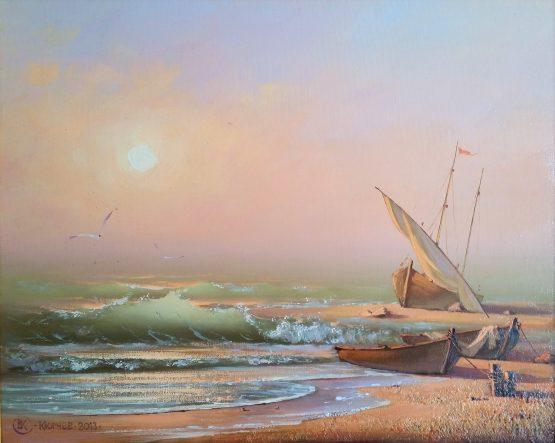 Утро на брега - морска картина, пейзаж