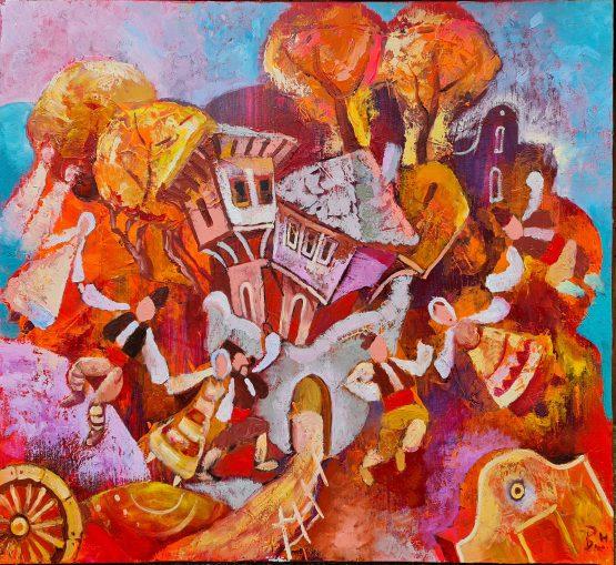 Българско хоро по време на празник - картина, наивизъм, маслени бои, платно